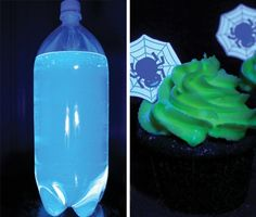 Party Trick: Use Tonic Water To Make Your Frosting Glow! Glow in the dark cupcakes! Halloween Cupcakes, Halloween Treats, Holidays Halloween, Halloween Fun, Halloween Foods, Halloween Decorations, Glow In The Dark Cupcakes, Party Hacks, Party Ideas