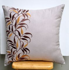 """Golden Leaves - Throw Pillow Cover- 18"""" x 18"""" Decorative Pillow Cover -Light Dessert Sand Linen with Brown and Gold Leaves Embroidery. $23.00, via Etsy. Cushion Embroidery, Floral Embroidery Patterns, Embroidered Cushions, Hand Embroidery Designs, Machine Embroidery, Decorative Pillow Covers, Throw Pillow Covers, Living Room Decor Pillows, Cushion Cover Designs"""