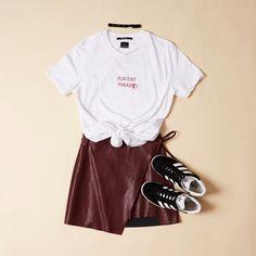 Lily Leather Look Skirt Burgundy $69.95 | #generalpants #ksubi #adidas #adidasgazelles #aliceintheeve #ladiesflatlay #streetwear #90sfashion