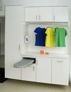 Draw with Fold out Ironing Board. Iron in cupboard underneath/plugged in. Garage Laundry Rooms, Laundry In Bathroom, Room Interior, Interior Design Living Room, Living Room Designs, Laundry Decor, Laundry Room Design, Unique Flooring, Home Decor Accessories