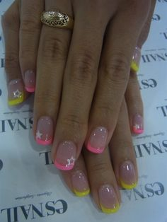 Take off the stars and just do the pink ones, no yellow.  I like the nude with pink French.  Good colors.