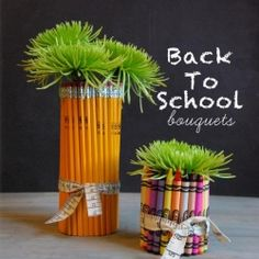 Something fun for the teachers.  Make these crayon and pencil vases for your kid's teachers and they will be sure to have a great year.