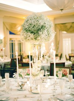 baby's breath tall centerpiece | KT Merry