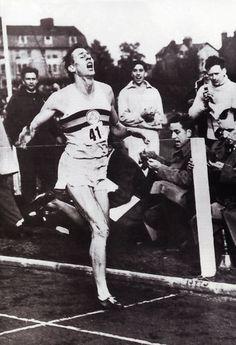 Roger Bannister breaking the 4 minute mile barrier.