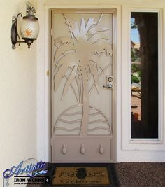 Palm Tree Wrought Iron Security Door with plasma cut features - Model: Aloha SD0354