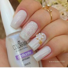"Wedding Nails "" 15 Passionate Ideas for Inspiration! Fabulous Nails, Perfect Nails, Gorgeous Nails, Wedding Day Nails, Bridal Nails, Creative Nail Designs, Pink Nail Designs, French Nails, Bling Nails"