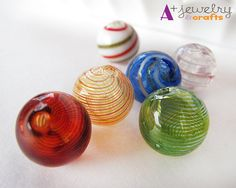 Blown glass beads, handmade, mixed colors, set of 12, striped beads, red, blue, green, yellow, candy