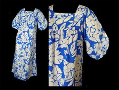 Hilo Hattie Hawaiian Dress Blue MuuMuu Vintage 70s Boho Dress $48.00 by susiesboutiquecloths on Etsy