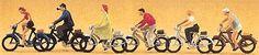 Recreation & Sports -- Bike Riders w/Bicycles - HO-Scale (6) (psr10091) Preiser HO Scale Model Railroad Figures