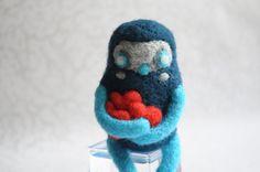 Lovely Monster  Needle Felted Art Doll Valentine's by Yellowsvit
