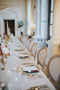 Kirtlington Park is a romantic, country house, wedding venue in Oxfordshire England. Photo by Poppy Carter. Wedding Reception Chairs, Wedding Table, Wedding Decor, Wedding Venues, Glamorous Wedding, Luxury Wedding, Elegant Wedding, White Seat Pads, Wedding Breakfast