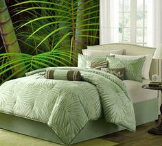 For a coastal look to your room, Freeport is the perfect set. With its soft green and ivory palm print, you are reminded of being somewhere tropical and relaxing. It has a soft green colored piping around the edge which leaves this casual bed set looking clean and neat. Its brown and soft green decorative pillows give a nice color contrast while staying with the same theme of palm trees and florals. With its polyester jacquard fabric, this bed set has dimension and charm.