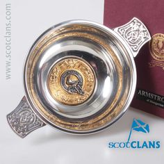 Armstrong Clan Crest Quaich. Free worldwide shipping available