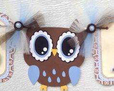 Owl baby shower banner, owl banner, it's a boy banner, brown, blue and ivory