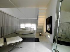 Practical Tips in Creating Master Bedroom Right in Your Attic : Stylish Good Looking Contemporary Loft Bedroom Interior Interior Contemporary Home Interior Design By Savioz Fabrizzi Architecte Contemporary Bedroom Under Sloping Roof Top Equipped 567 King Furniture, Furniture Decor, Furniture Design, Apartment Furniture, Bedroom Loft, Bedroom Sets, Bedroom Decor, Large Bedroom, Master Bedroom