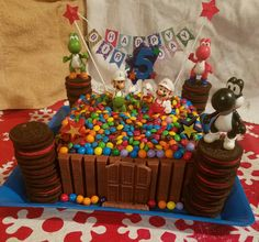 Mario, Luigi and Yoshi Kit Kat, Oreo and M&M cake