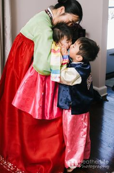 A traditional Korean Dol (Doljanchie) - first birthday party    love big brother kissing little sister