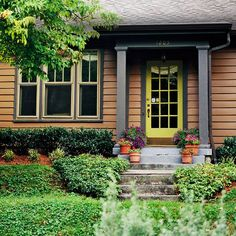 Brown and green make a great nature-inspired color scheme. More ways to boost your curb appeal: http://www.bhg.com/home-improvement/exteriors/curb-appeal/curb-appeal-on-a-dime/?socsrc=bhgpin072612natureinspiredfacade#page=14