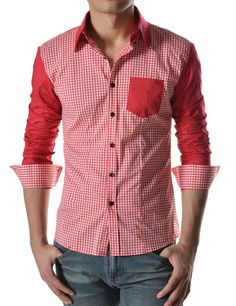 TheLees Mens Casual Long Sleeve Stripe Patch Checker Shirts at Amazon Men's Clothing store: Fashion T Shirts