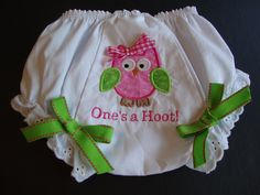 Girls Owl Bloomers Baby Owl Bloomers One's a Hoot First Birthday Bloomers Birthday Gift. $18.00, via Etsy.