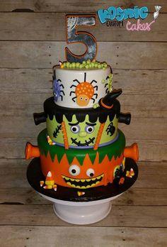 Trick or Treat Halloween by Kosmic Custom Cakes Boys Bday Cakes, 7th Birthday Cakes, Halloween Birthday Cakes, Creative Birthday Cakes, Halloween Sweets, Halloween Cookies, Creative Cakes, Halloween Party, Halloween Ideas