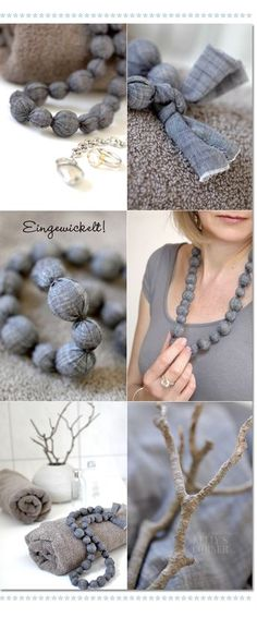 Beautiful DIY Chain with fabric and wodden pearls