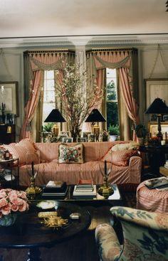 """Trompe l'oiel pelmets painted by Carmen Almon. Slipcover & curtains in """"East Hampton"""" stripe fabric, by Howard Slatkin"""