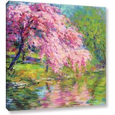 ArtWall Svetlana Novikova Blossoming Trees Gallery-wrapped Canvas, Size: 24 x 24, Green