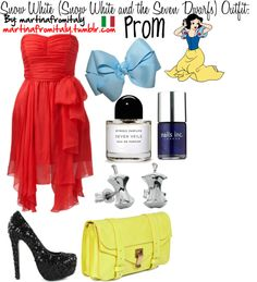 """""""Snow White (Snow White and the Seven Dwarfs) Prom Outfit:"""" by martinafromitaly ❤ liked on Polyvore"""
