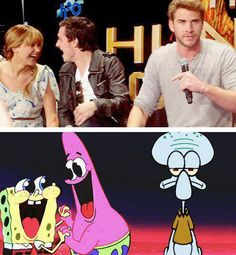 I love that josh is Patrick! #TheHungerGames + #Spongebob = Perfection