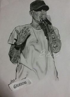 Eminem marshall mathers pencil portrait by Becs.