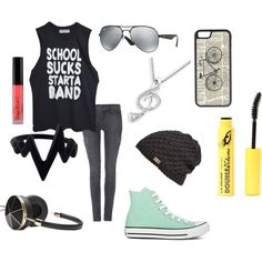 school sucks!!! by spiritstar1123 on Polyvore featuring J Brand, Converse, MaBelle, Ray-Ban, Frends, Under Armour and CellPowerCases