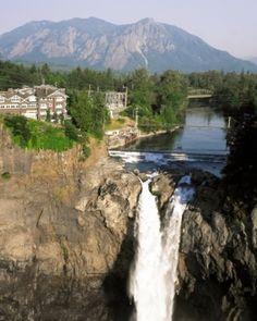 Historic Salish Lodge & Spa sits atop a precipice overlooking Washington's Snoqualmie Falls.