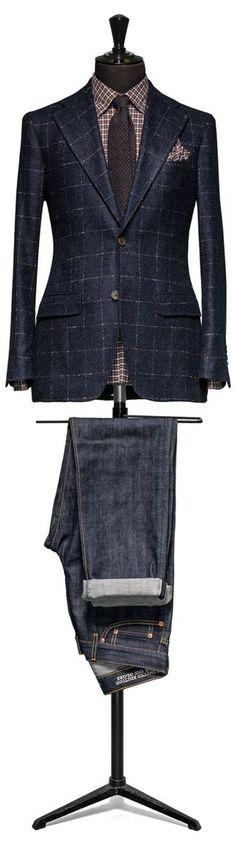 Blue Windowpane Patterned Sport Coat + Denim Jeans = MetalBlazerButtons.com Approved!