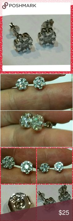 Genuine White Sapphire Earrings The perfect studs!  Set in 925 stamped Solid Sterling Silver. Please see all pictures for details. Brand New. Never Worn. Wholesale Price. Msrp 165.00 Jewelry Earrings