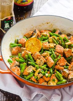 Asian Salmon and Green Beans Stir Fry -- Healthy 20 minute skillet high in protein and low in carbs.