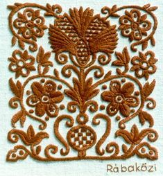 Hungarian embroidery in a 'chocolate' color Hungarian Embroidery, Folk Embroidery, Learn Embroidery, Shirt Embroidery, Chain Stitch Embroidery, Embroidery Stitches, Machine Embroidery, Embroidery Designs, Stitch Head