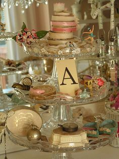 3 tier dish ( make with candle holders & plates)  Great for a craft room supply stand or jewelry holder on a dresser.