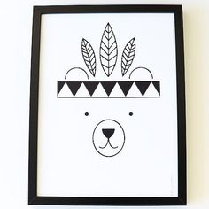 Indianerbär Poster Indian bear poster by Foxella & Friends Dessin Aztec, Boy Room, Kids Room, Kids Interior, Tribal Animals, Baby Posters, Baby Zimmer, Wild Ones, Nursery Decor