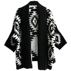 AWEIDS Aztec Geometric Print Batwing Knitwear Oversized Open Front... (1.040 RUB) ❤ liked on Polyvore featuring tops, cardigans, aztec top, geometric print cardigan, aztec open front cardigan, aztec print cardigan and knitwear cardigans