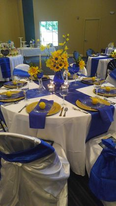 Wedding Table Decorations Blue And Yellow Blue - fancy breakfast banquet for pto. royal blue, white and yellow decorations blue Wedding Table Decorations Blue And Yellow Blue - fancy breakfast banquet for pto. Banquet Decorations, Wedding Table Decorations, Table Wedding, Royal Blue Wedding Decorations, Wedding Ideas, Blue Yellow Weddings, Wedding Yellow, Yellow Centerpieces, Blue Table Settings