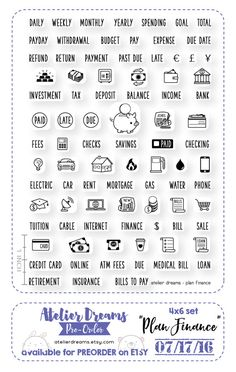 PLAN FINANCE  Planner Stamps Photopolymer Clear Stamps