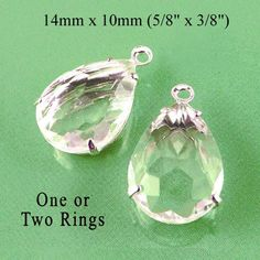 Clear rhinestone teardrops great for earring drops and pendants - and these are on sale!  $1.79/pr in silver or brass settings
