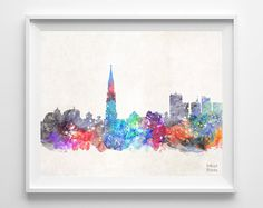 Brussels Skyline Belgium Watercolor Poster Belgian by InkistPrints, $11.95 - Shipping Worldwide! [Click Photo for Details]