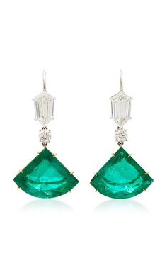 Kite Emerald Drop Earrings by Martin Katz - Sale! Shop at Stylizio for women's and men's designer handbags luxury sunglasses watches jewelry purses wallets clothes underwear Emerald Green Earrings, Emerald Jewelry, Turquoise Jewelry, Diamond Jewelry, Fine Jewelry, Women Jewelry, Fashion Jewelry, Jewelry Accessories, Jewelry Design