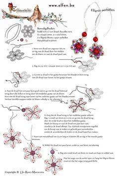 Gratis patronen | Elfenatelier Seed Bead Tutorials, Beading Tutorials, Beading Patterns Free, Beaded Jewelry Patterns, Free Pattern, Seed Bead Jewelry, Bead Jewellery, Seed Beads, Filigree Earrings
