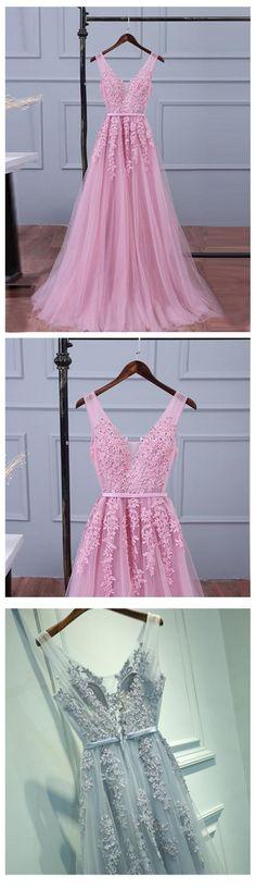 V Neckline Purple Lace Evening Prom Dresses, Popular Lace Party Prom Dresses, Custom Long Prom Dresses, Cheap Formal Prom Dresses, 17190
