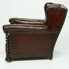 Vintage French Leather Wing Chair 4 Wingback Chairs, Old Chairs, Armchair, Leather Furniture, Vintage Furniture, Two Buns, Trophy Rooms, Leather Club Chairs, Wing Chair