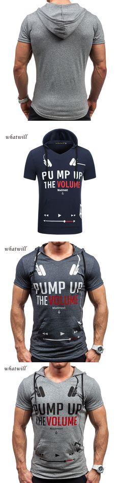 Fashion Men T-shirts Streetwear Tops Casual Hip Hop T Shirt Short Sleeve Hooded Tees Tops&Tees