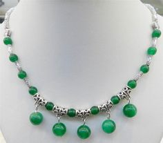 6-10Mm Lovely Natural Green Jade Round Beads Pendants Tibet Silver Necklace 18""
